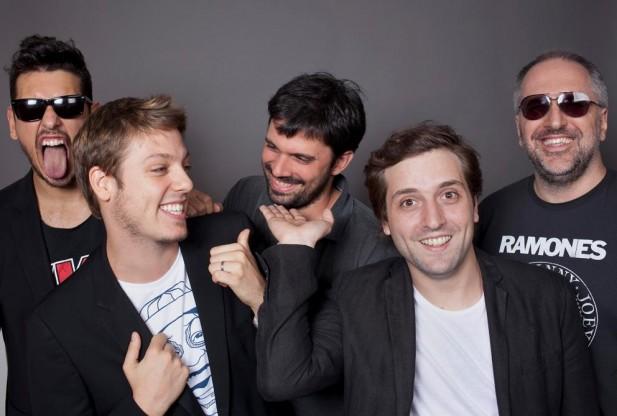 João Vicente Sato, Fábio magya loira Porchat, Ian fazendo o tímido, Gregório fazendo a linha executivo e Kibe Rock n' Roll. (Foto by Jorge Bispo)